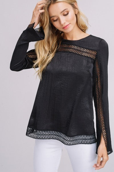 Silky Long Sleeve Top in Black