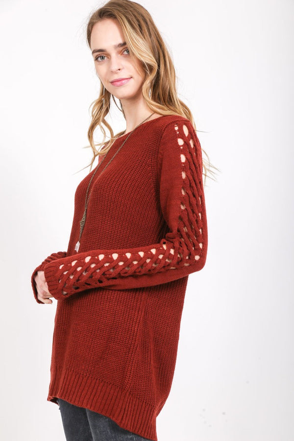 Cross My Path Long Sleeve Sweater in Red