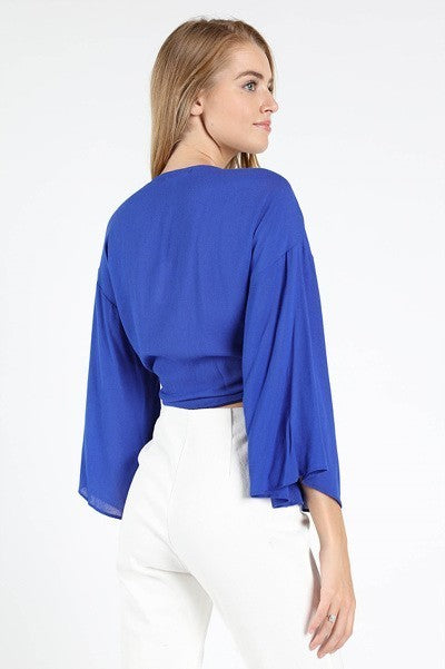 Full Flow Front Tie Blouse in Royal Blue