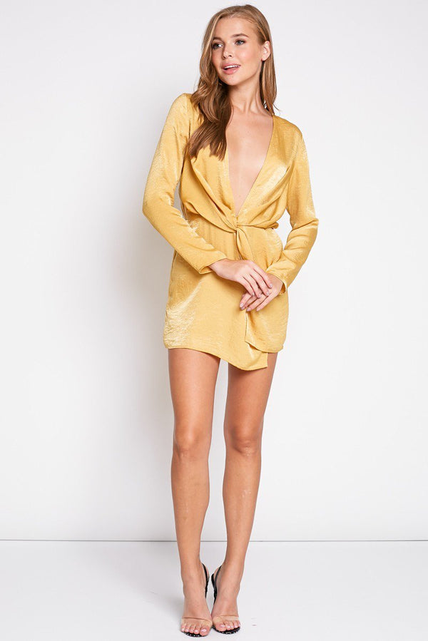 Satin Nights Mini Dress in Mustard | Necessary Clothing