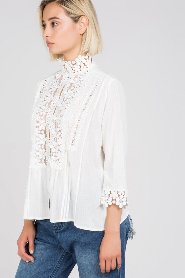 Queen Anne's Lace Blouse in White | Necessary Clothing