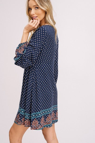 Free Flow Bell Sleeve Boho Dress in Navy | Necessary Clothing