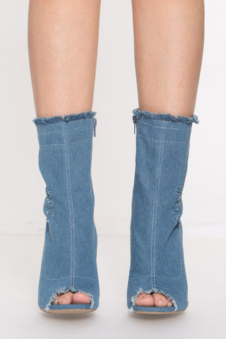 Dogs Are Barking Denim Booties in Dark