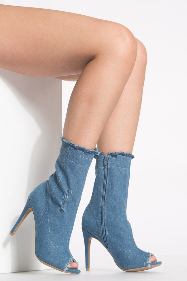 Dogs Are Barking Denim Booties in Dark | Necessary Clothing