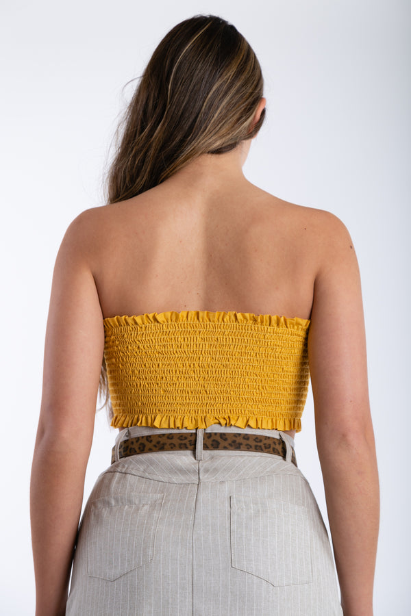 Little Do You Know Crop Top in Mustard | Necessary Clothing