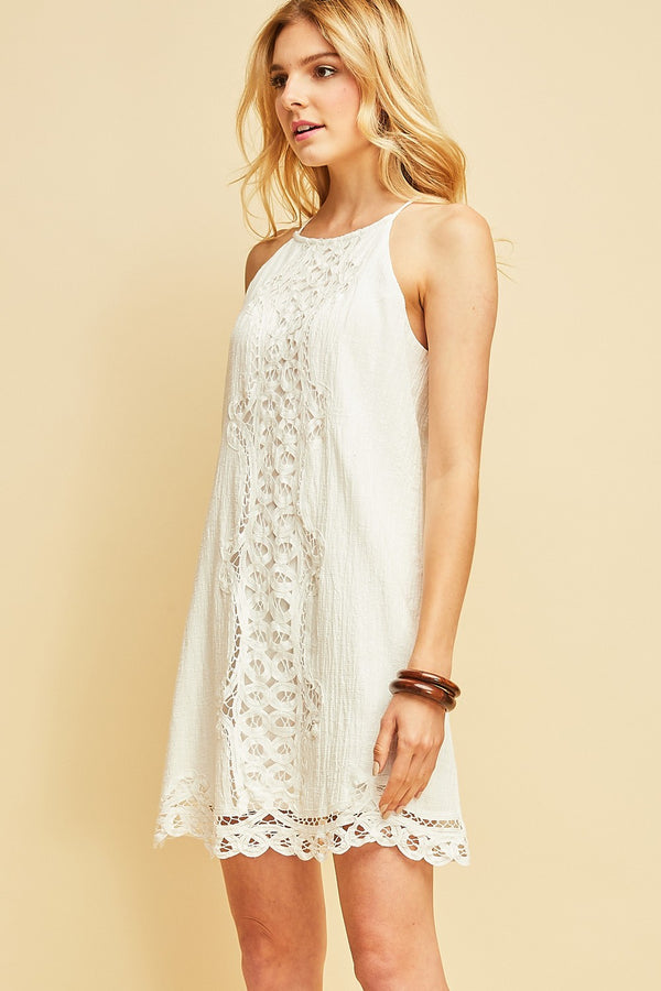 Sweet Lace Mini Dress in White