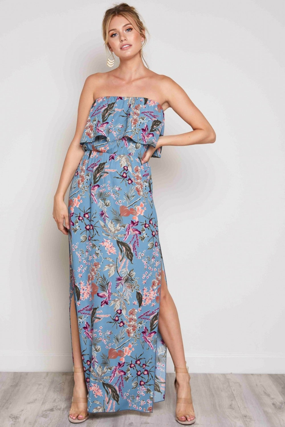 Fine And Floral Strapless Dress in Teal | Necessary Clothing