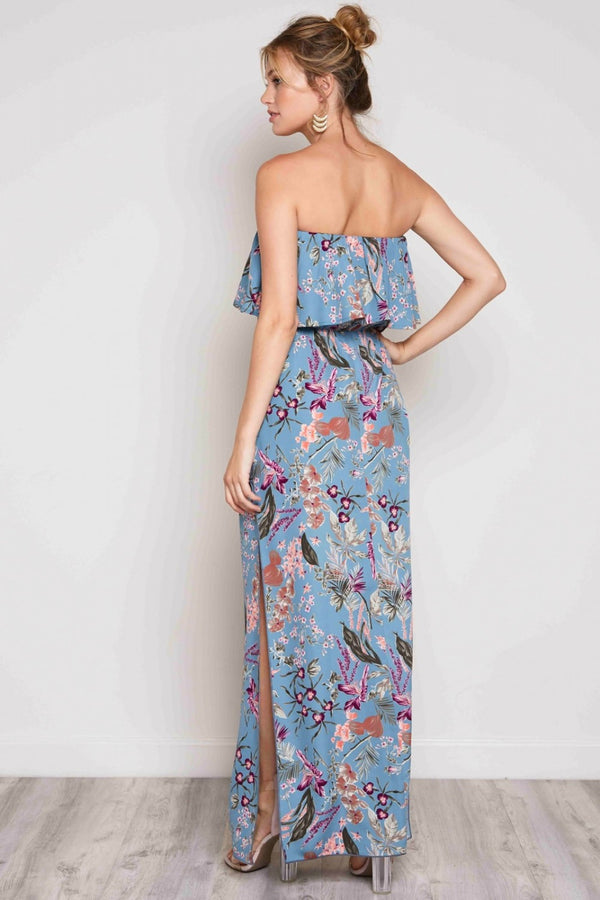 Fine And Floral Strapless Dress in Teal