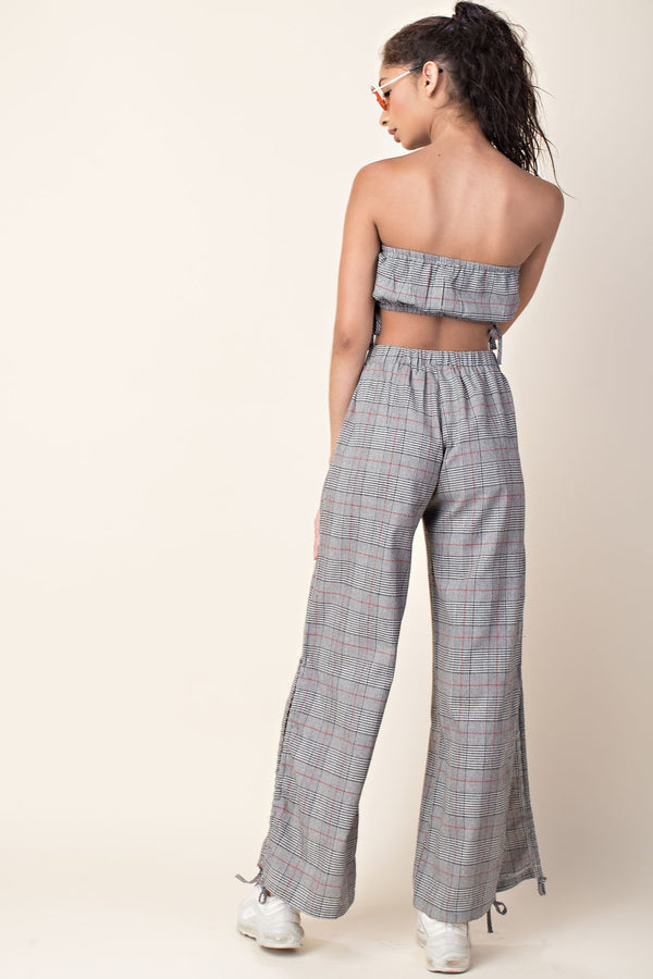 King Me Checker Pant Set in Grey
