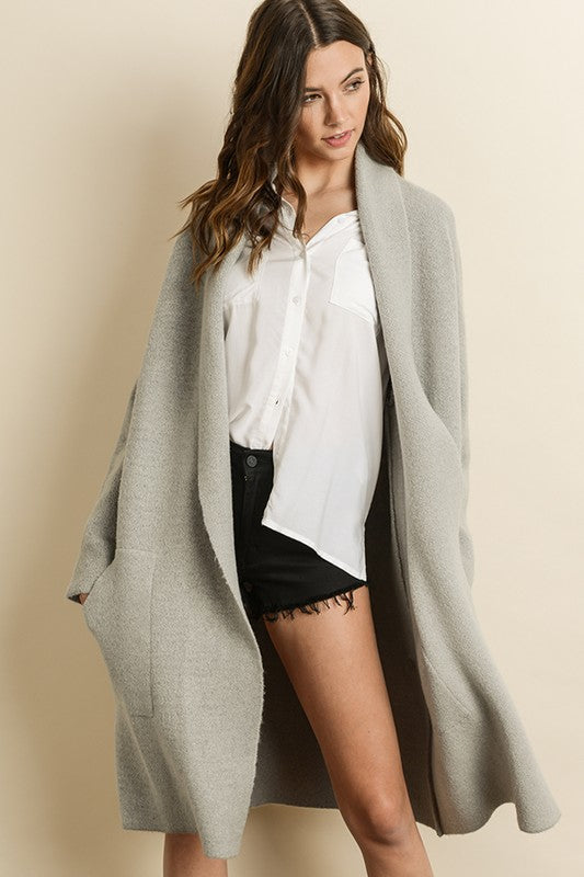 Like You A Latte Long Cardigan in Light Grey | Necessary Clothing