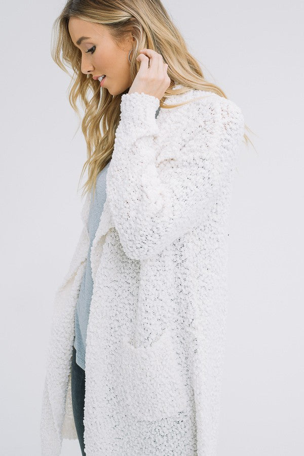 Movie Night Popcorn Cardigan in Light Grey