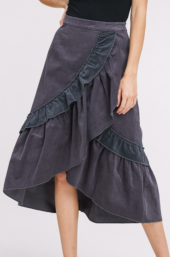 Corduroy Ruffle Wrap Skirt in Charcoal