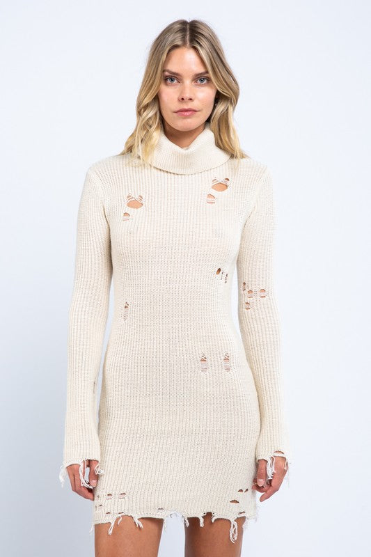 Destroy And Conquer Sweater Dress in Ivory | Necessary Clothing