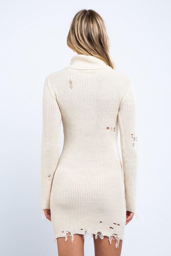 Destroy And Conquer Sweater Dress in Ivory