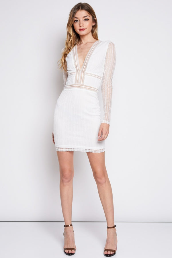 Ain't Meshin' Around Mini Dress in Off White