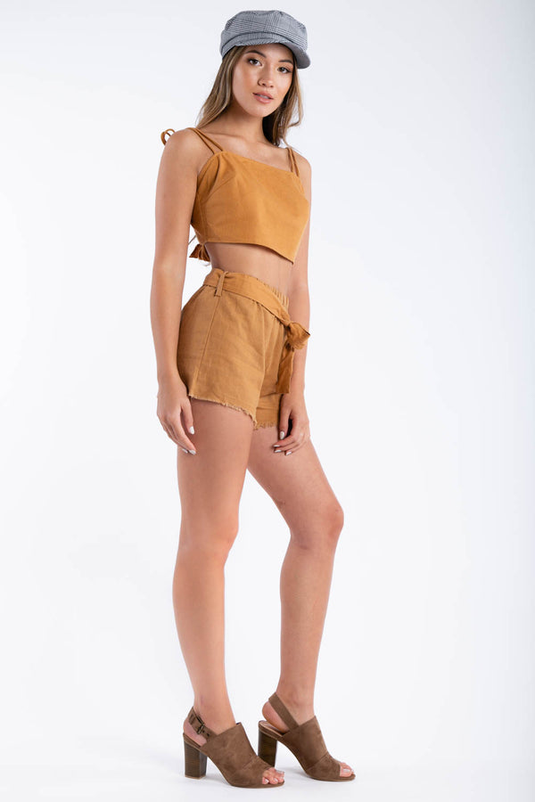 City Cowgirl Matching Shorts Set in Camel | Necessary Clothing