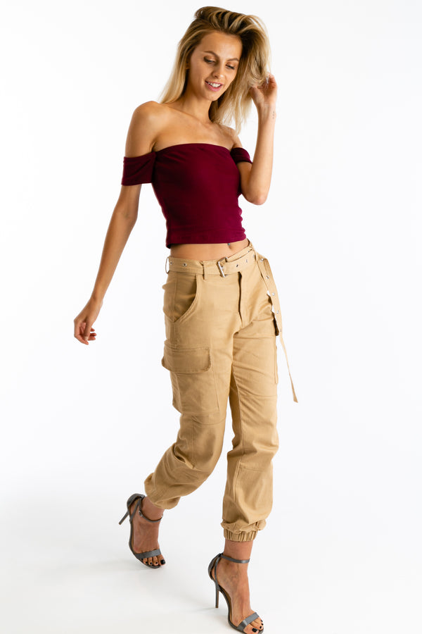 Hot Goss Crop Top in Burgundy | Necessary Clothing