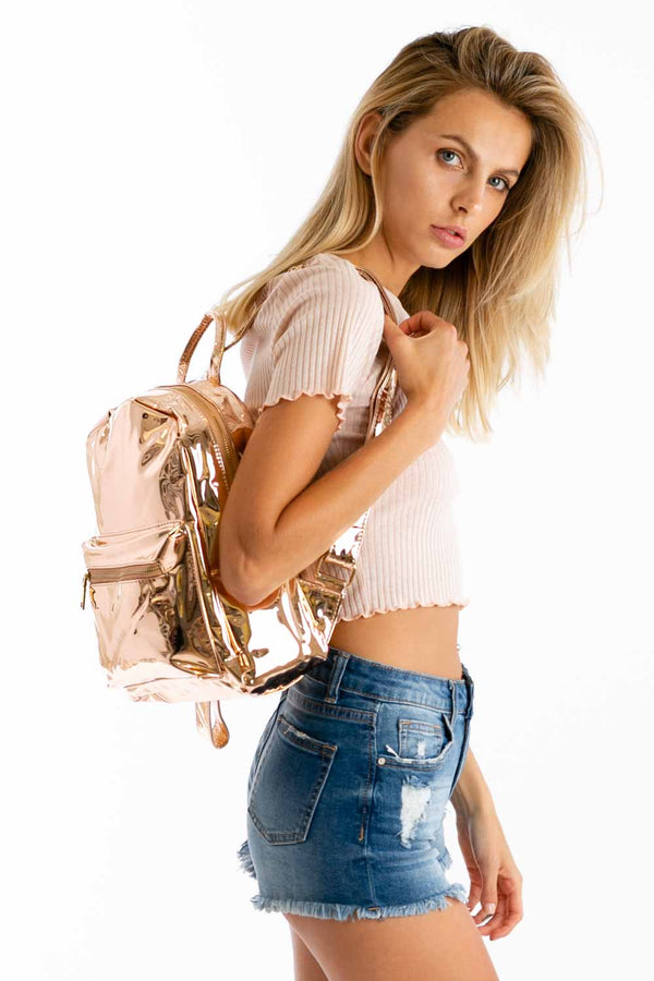 Jam Sesh Metallic Backpack in Rose Gold | Necessary Clothing
