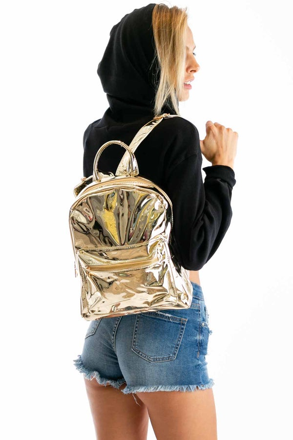 Jam Sesh Metallic Backpack in Gold | Necessary Clothing