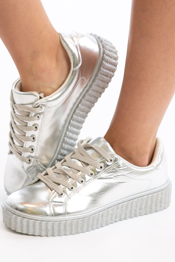 Step Up Your Game Sneakers in Silver | Necessary Clothing