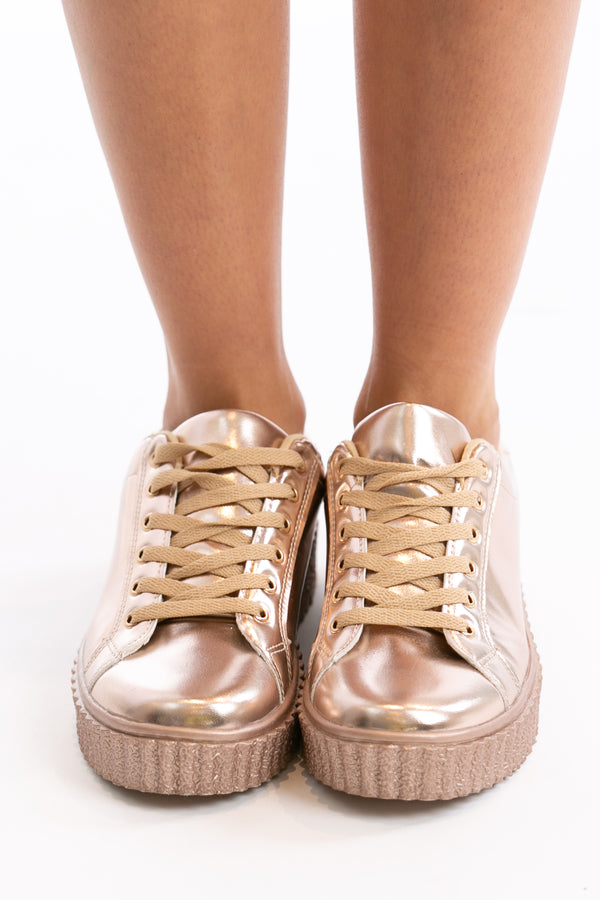 Step Up Your Game Sneakers in Rose Gold | Necessary Clothing
