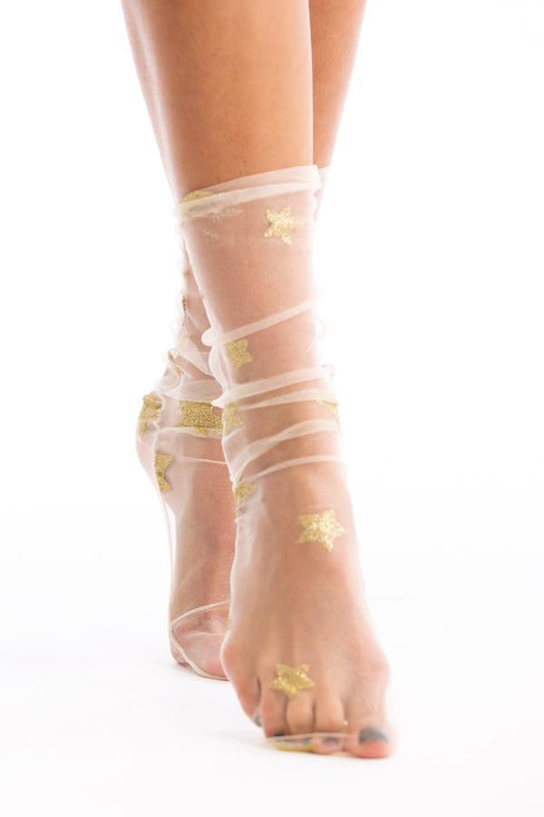 Starry Night Sheer Socks in Gold | Necessary Clothing