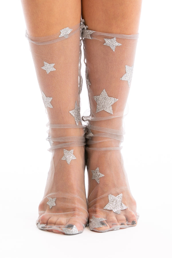 Starry Night Sheer Socks in Silver | Necessary Clothing
