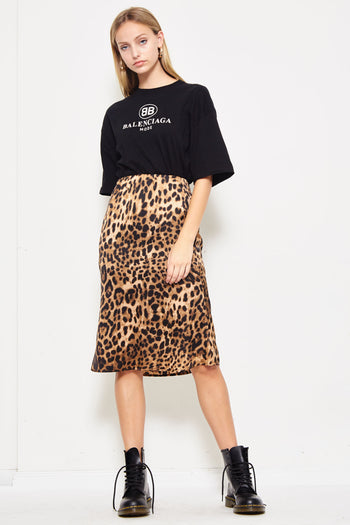 Wild Cat Midi Skirt in Leopard | Necessary Clothing