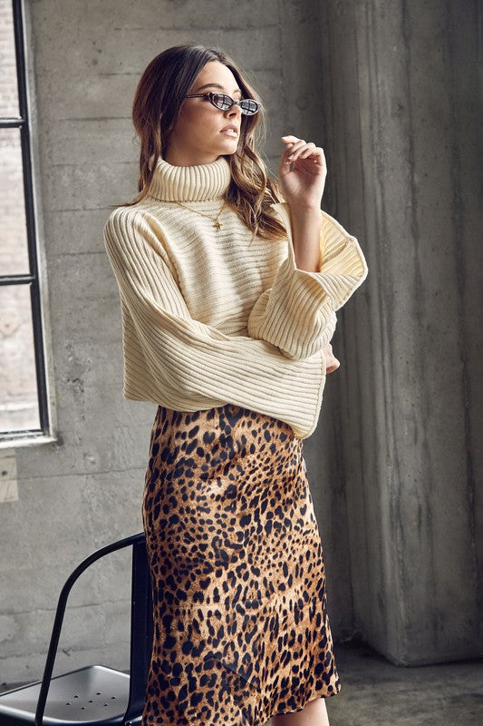 Wild Cat Midi Skirt in Leopard
