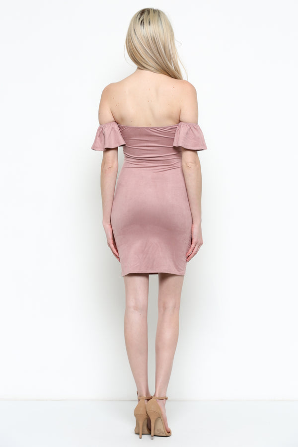 Dark Magic Cold Shoulder Dress in Mauve