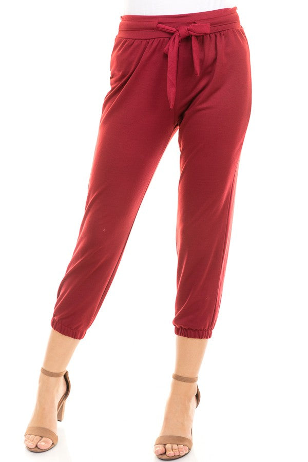 Tie Front Jogger Pants in Maroon | Necessary Clothing
