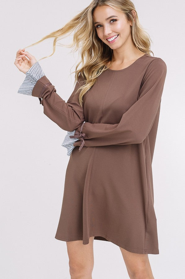 It's A Small World Shirt Dress in Mocha