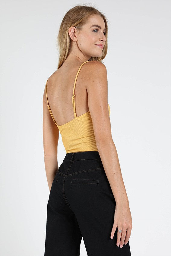 Take A Peek Bodysuit in Mustard