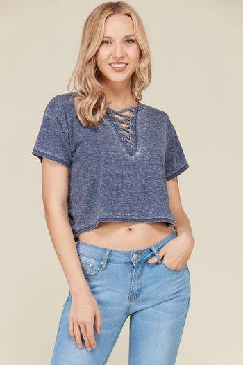 Lace Up Crop Tee in Navy | Necessary Clothing