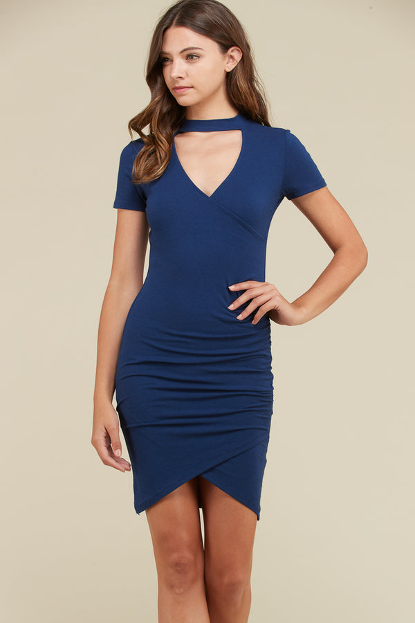 Surplice Choker Midi Dress in Navy | Necessary Clothing