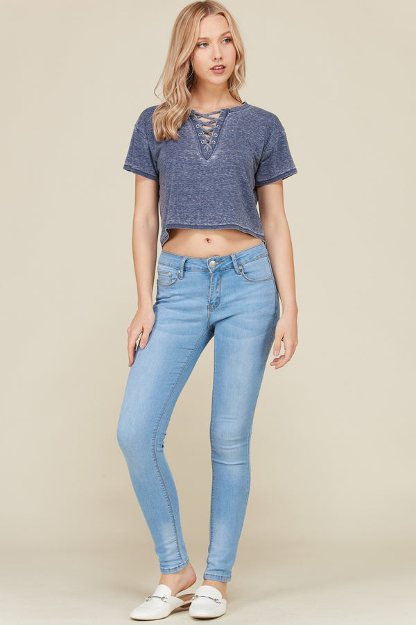 Lace Up Crop Tee in Navy