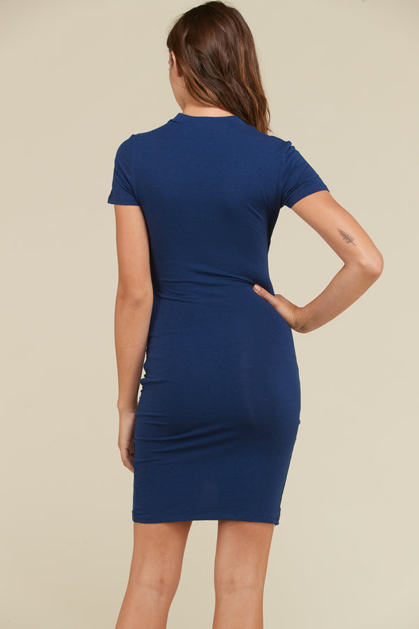 Surplice Choker Midi Dress in Navy