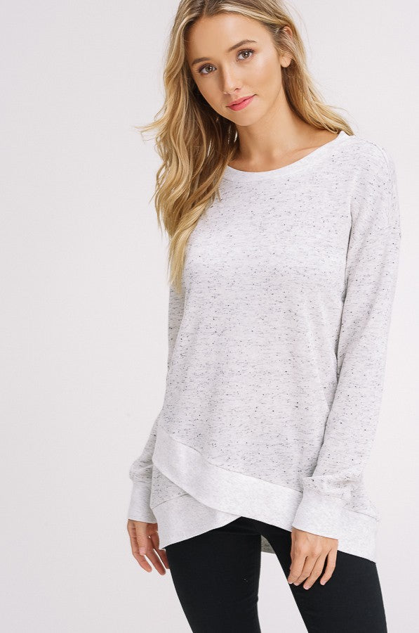 French Terry Petal Hem Sweatshirt in Oatmeal | Necessary Clothing