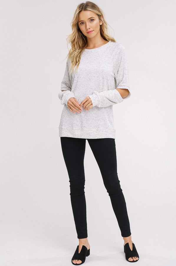 Peekaboo Cut Out Sweatshirt in Oatmeal