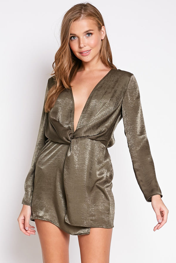 Satin Nights Mini Dress in Olive | Necessary Clothing