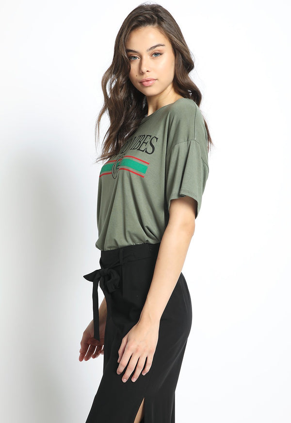 Good Vibes Retro Tee in Olive