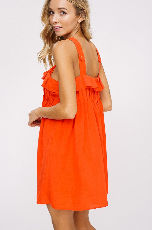 Miss August Ruffle Dress in Red Orange
