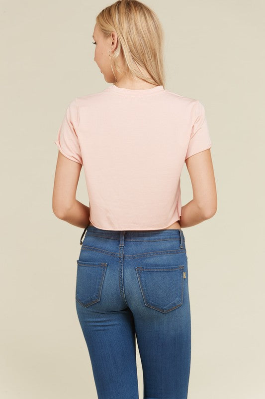 Trapped In A Box Cropped Tee in Rose Pink