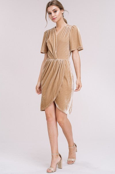 In Love with Velvet V Neck Gathered Dress in Taupe | Necessary Clothing