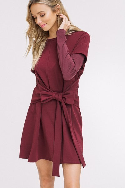 Tie it Together French Terry Dress in Plum | Necessary Clothing