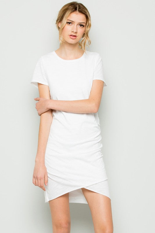 Wrapped Around Your Finger Mini Dress in Ivory | Necessary Clothing