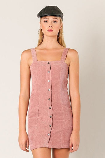 A-Corduroy To You Mini Dress in Mauve | Necessary Clothing