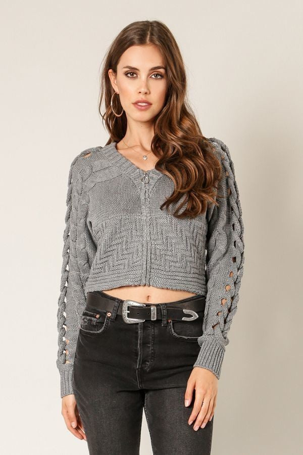 Switch To Cable Crop Sweater in Heather Grey | Necessary Clothing