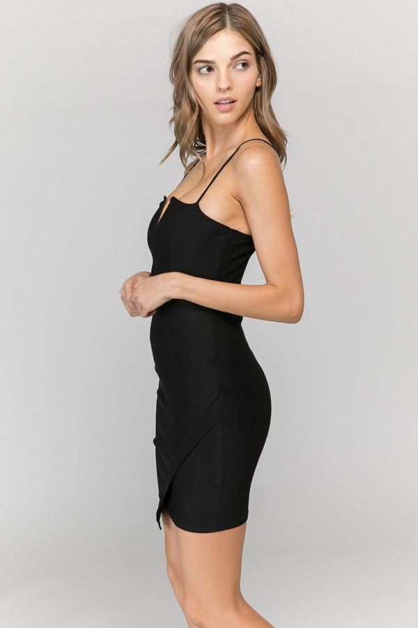 Widow's Peak Wrap Mini Dress in Black | Necessary Clothing