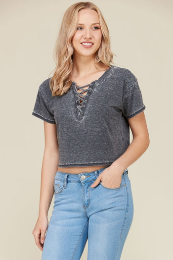 Lace Up Crop Tee in Black | Necessary Clothing